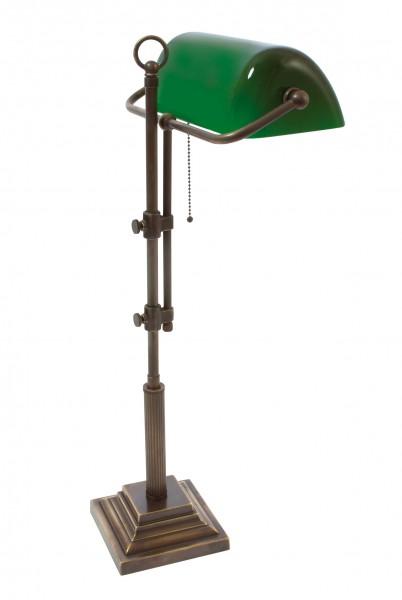 Bankers Lamp / Bankerlampe / Schreibtischleuchte, Landhaus Stil, Messing antik-handpatiniert (Altmessing), hochwertige Ausführung mit grünem mundgeblasenem Glas, Höhe 61 cm bis 72 cm einstellbar, 230 V, E27 60 W